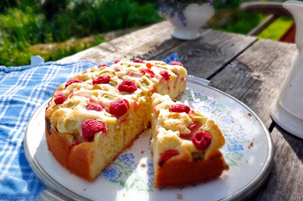 Rhabarber-Himbeer-Kuchen