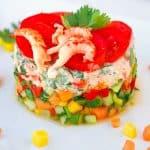 Flusskrebs-Salat mit Mango, Papaya und Gurke