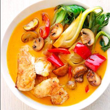 Aromatische Mangosoße mit Huhn + Gemüse