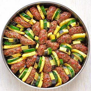 Gemüse und Köfte vor dem 1. Backen