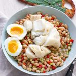 Kabeljau-Confit auf Bohnensalat mit Piso